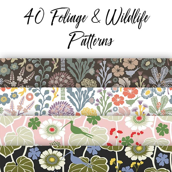 40 Foliage and Wildlife Patterns