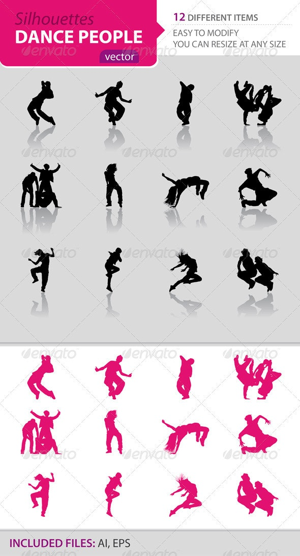 Dance people silhouettes - People Characters