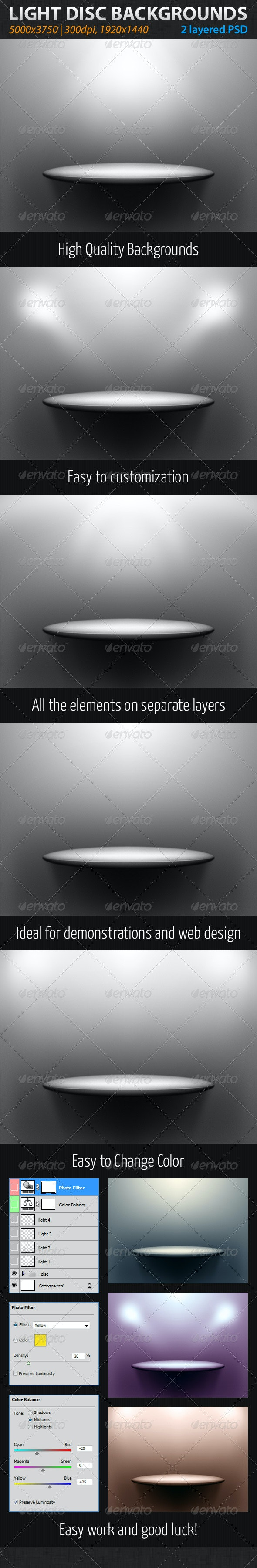 Light Disc Backgrounds - Tech / Futuristic Backgrounds
