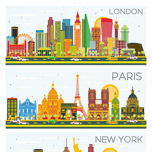 London, Paris, New York Skyline with Color Buildings and Blue Sky