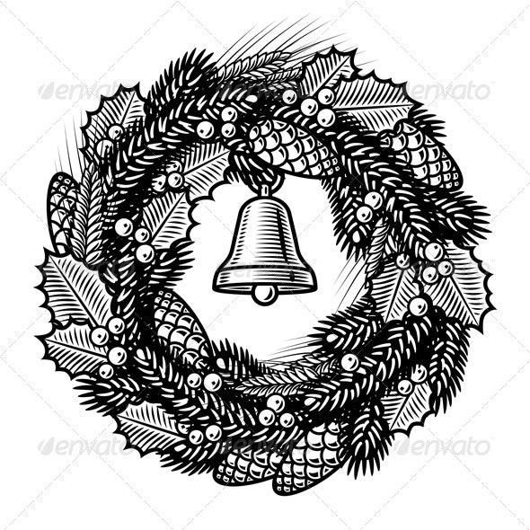 Retro Christmas Wreath Black And White - Christmas Seasons/Holidays