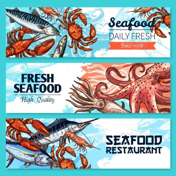 Seafood Restaurant Banners Vector Sketch Set