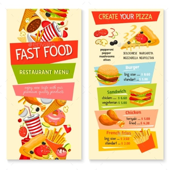 Fast Food Vector Flat Menu Design for Restaurant
