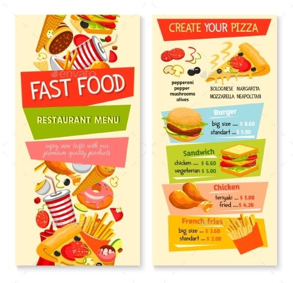Fast Food Vector Flat Menu Design for Restaurant - Food Objects