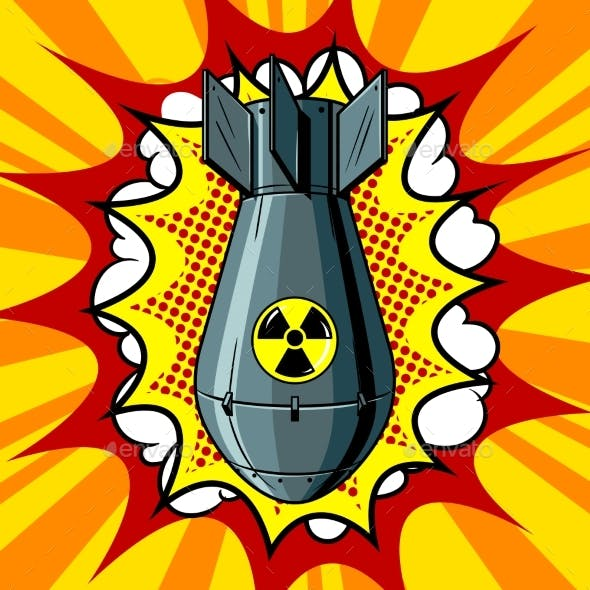 Nuclear Atomic Bomb Pop Art Style Vector