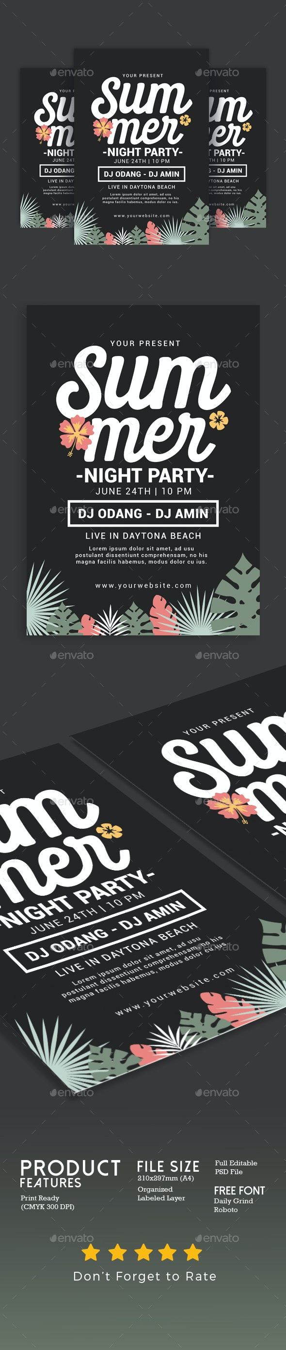 Summer Night Party - Events Flyers