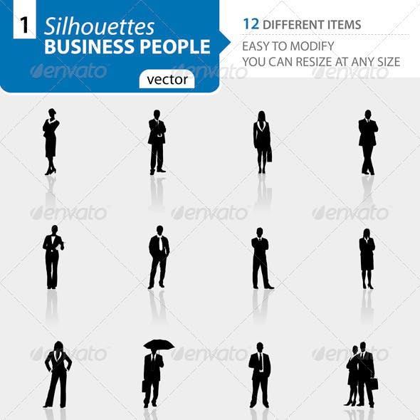 Business people silhouettes Set1
