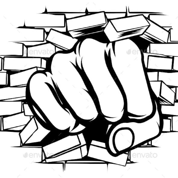 Punching Fist Through Brick Wall