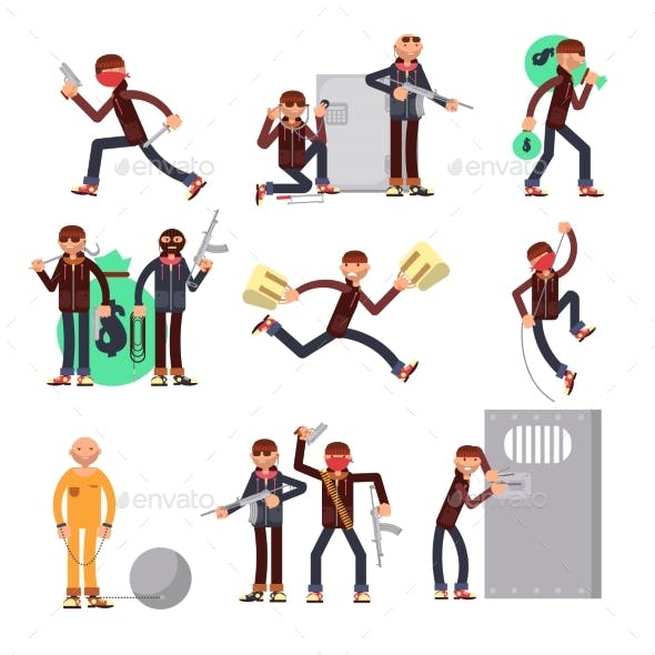 Criminal Offender in Different Actions Vector Set