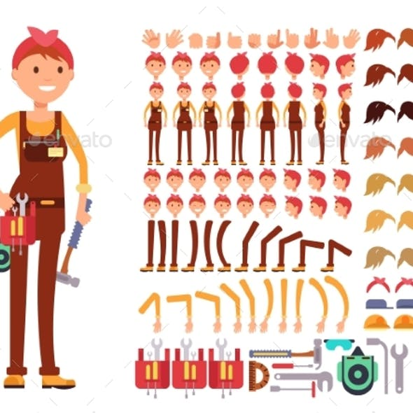 Female Technician Cartoon Vector Character