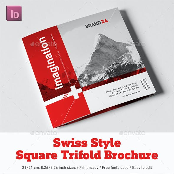 Swiss Style Square Trifold Brochure
