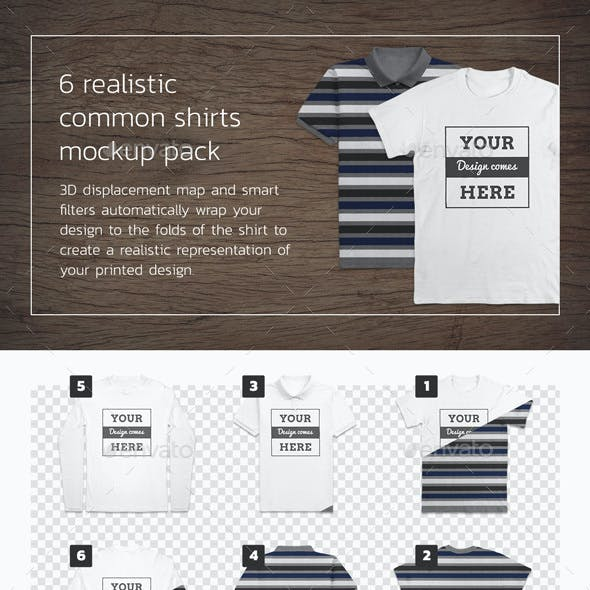 Common 6 T-Shirt Mockups - Front and Back