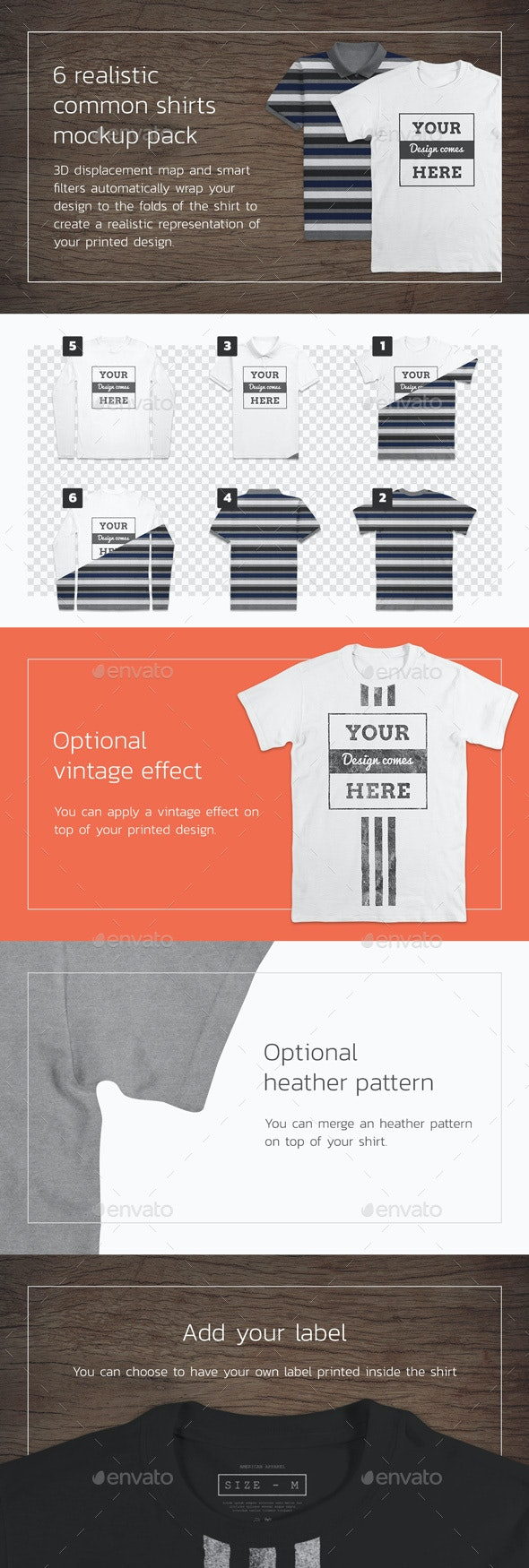 Common 6 T-Shirt Mockups - Front and Back - T-shirts Apparel