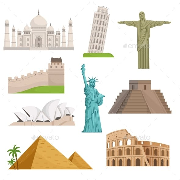 Different Historical Famous Landmarks.