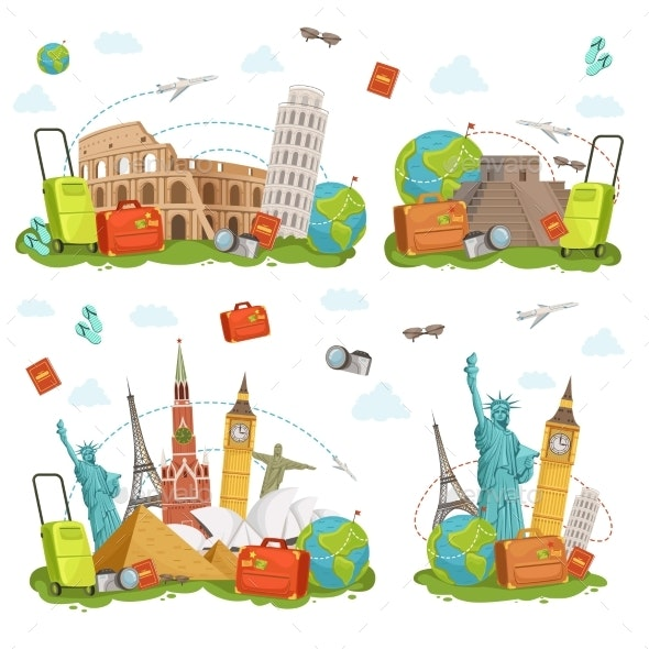 Travel Icons and Different Landmarks - Travel Conceptual
