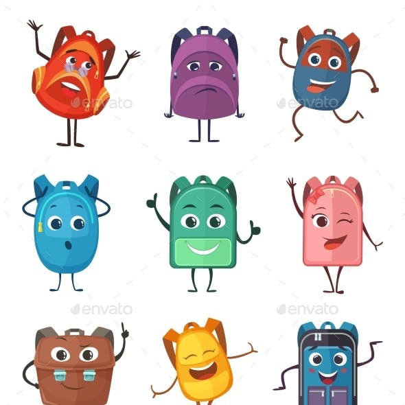 Schoolbags Characters with Different Emotions