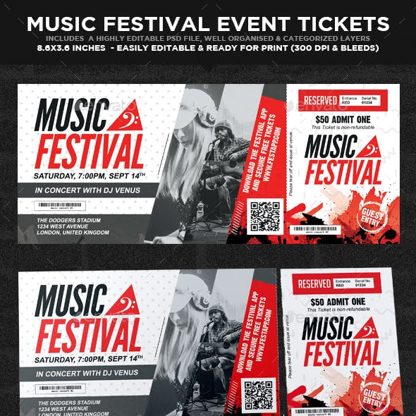 Musical Festival Multipurpose Event Ticket