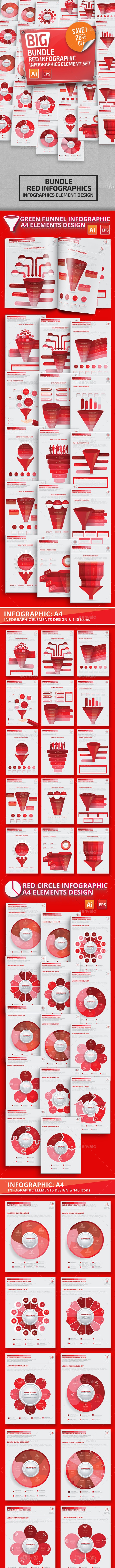 Bundle Red Infographic Elements - Infographics