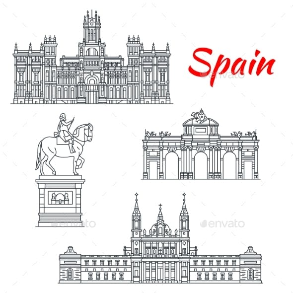 Architecture of Spain Buildings Vector Icons