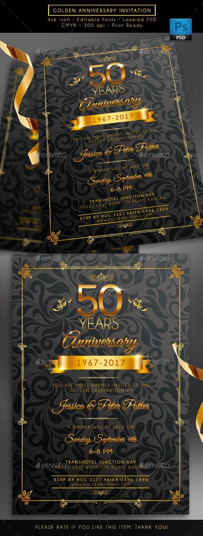 Golden Anniversary Invitation - Weddings Cards & Invites