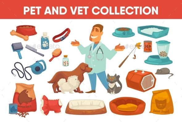Pet Stuff and Supply Set - Animals Characters
