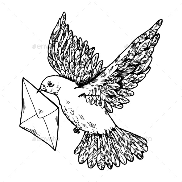 Postal Dove with Letter Engraving Style Vector - Miscellaneous Vectors