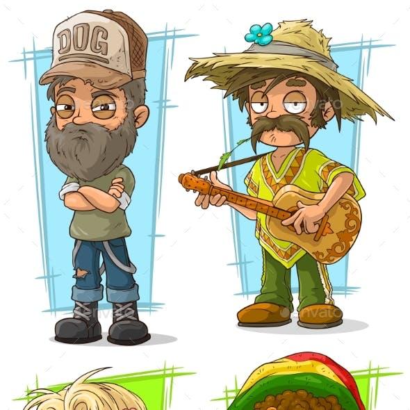 Cartoon Redneck Farmer with Guitar Character Set
