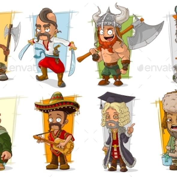 Cartoon Different Characters Vector Set