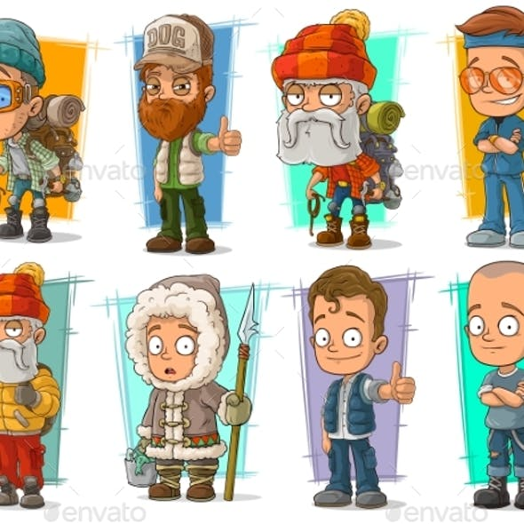 Cartoon Different Characters Vector Set