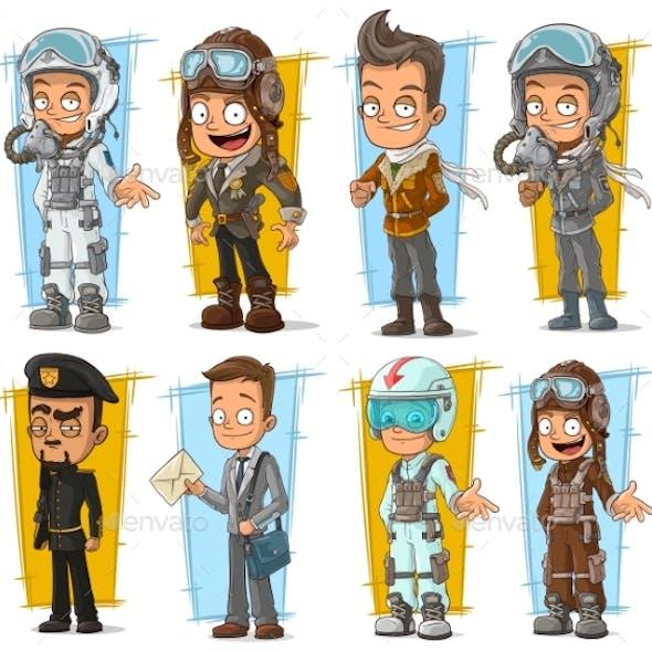 Cartoon Pilot and Postman Character Set