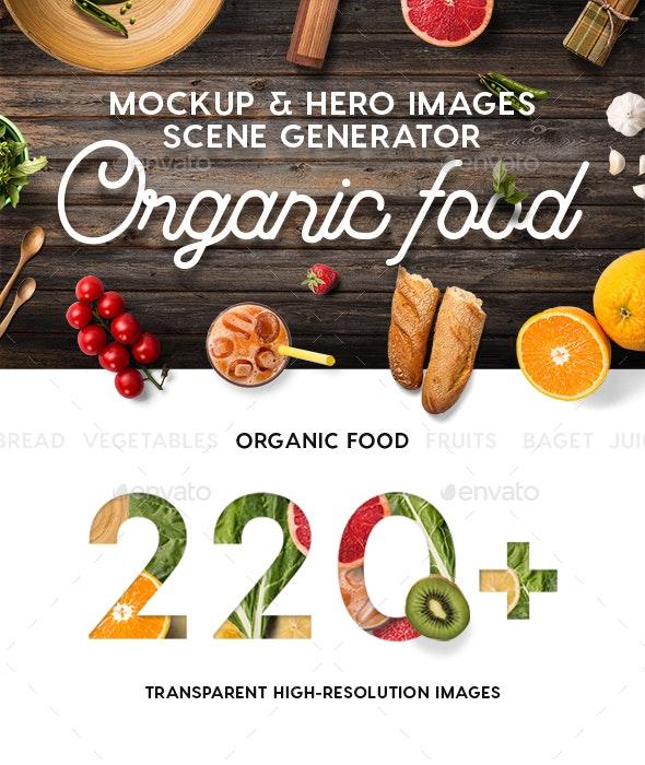Organic Food Mockup & Hero Images Scene Generator - Hero Images Graphics