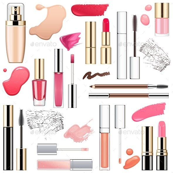 Vector Makeup Cosmetics with Smears