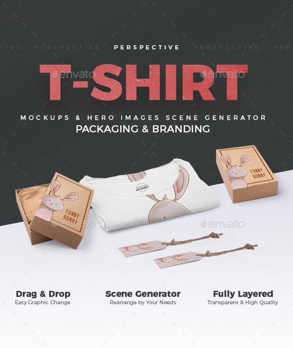 T-shirt and Packages Mockups and Hero Images Scene Generator / Perspective View / - Hero Images Graphics