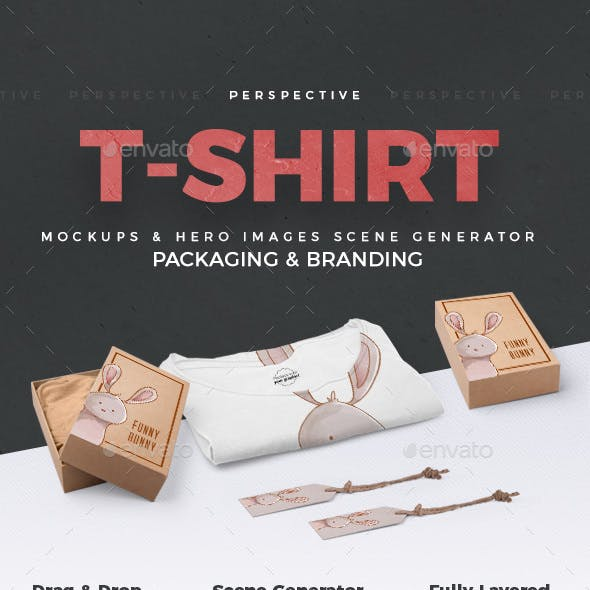 T-shirt and Packages Mockups and Hero Images Scene Generator / Perspective View /