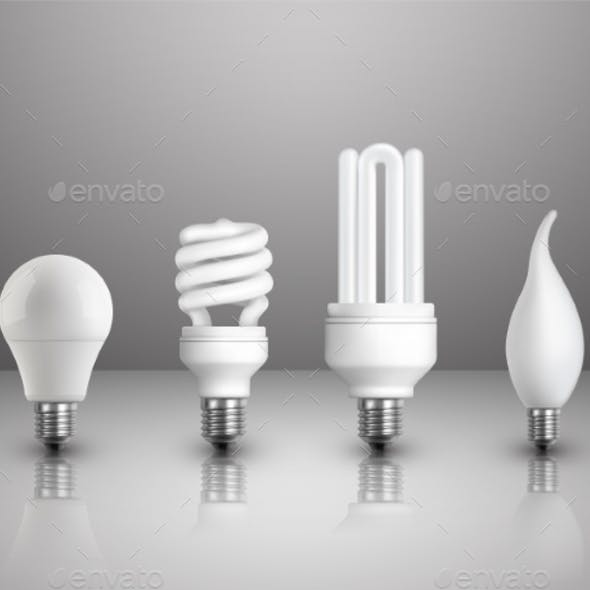Realistic Electric Lightbulbs Set