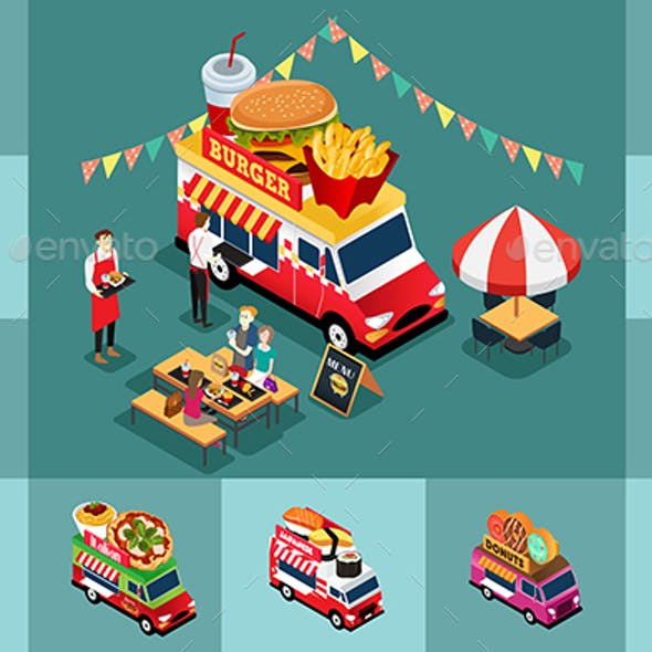 Isometric Design of Different Food Trucks