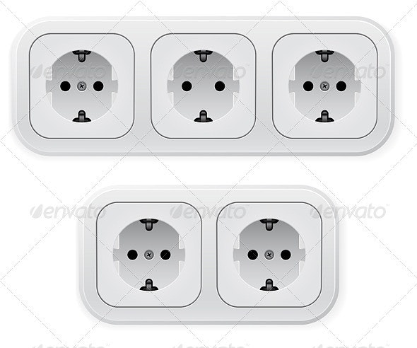 Realistic illustration of different forms outlets - Man-made Objects Objects