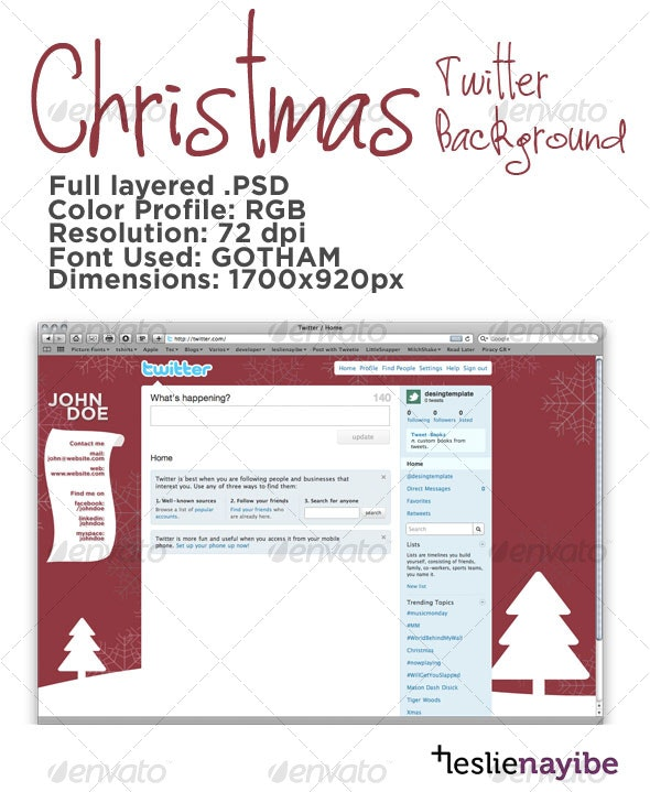 Christmas Twitter Background - Miscellaneous Web Elements
