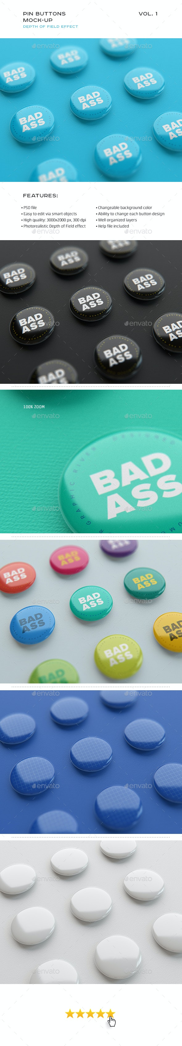 Pin Buttons Mock-up vol.1 - Miscellaneous Print