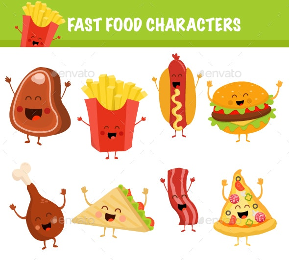 Cute Fast Food Characters Set - Food Objects