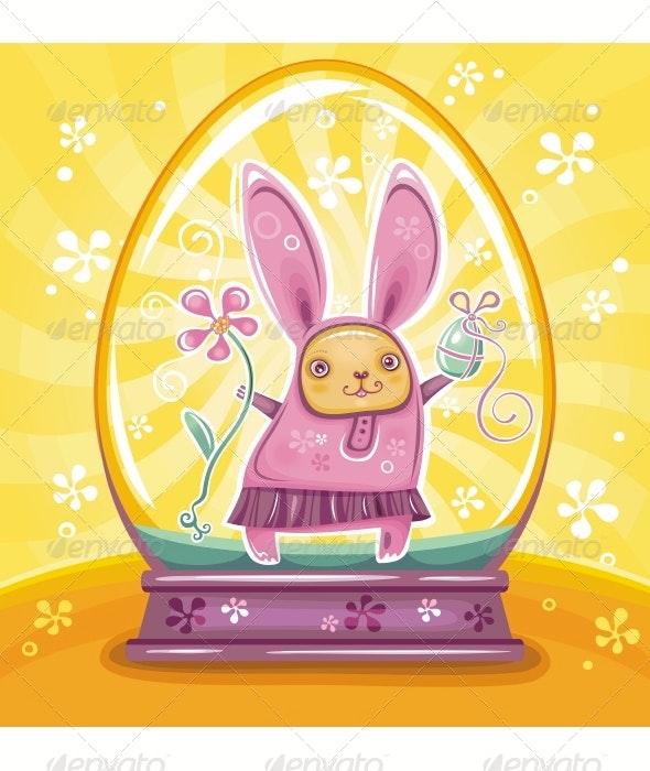 Easter Bunny inside of snow-dome - Seasons/Holidays Conceptual
