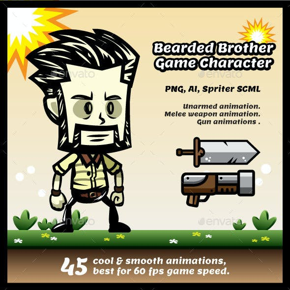 Bearded Bro Game Character Sprites