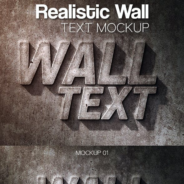 Realistic Wall Text Mockup