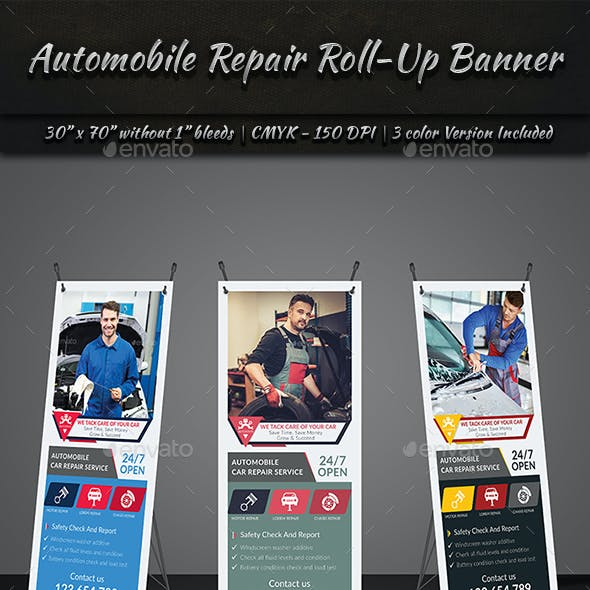 Automobile Repair Roll-Up Banner Template