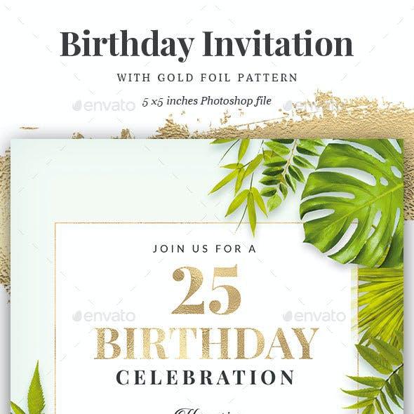 Green / Gold Birthday Invitation