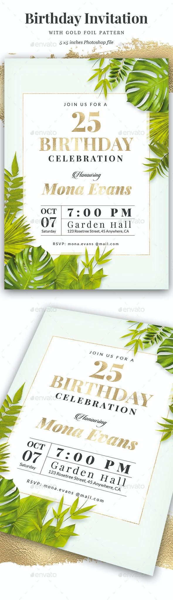Green / Gold Birthday Invitation - Cards & Invites Print Templates