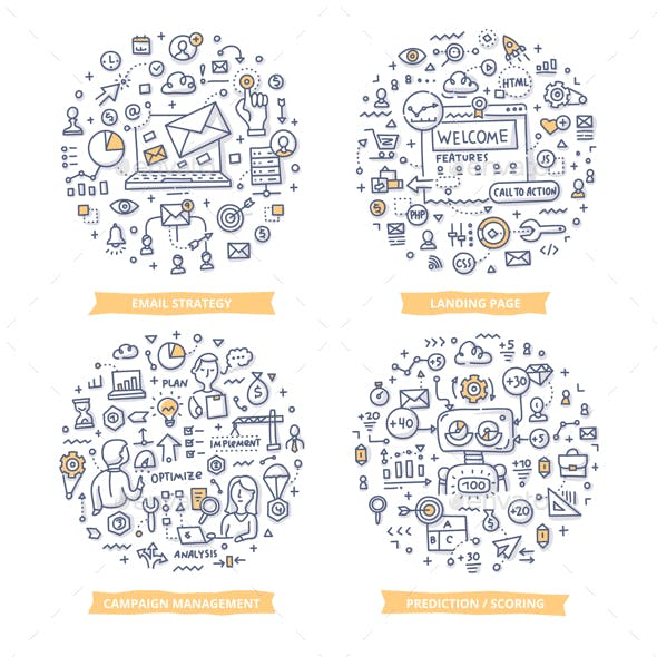 Marketing Automation Doodle Illustrations Set 1