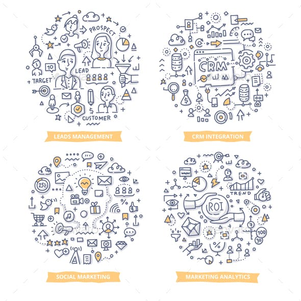 Marketing Automation Doodle Illustrations Set 2