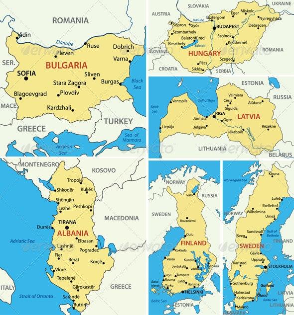Maps of European Countries - Part 4. - Travel Conceptual