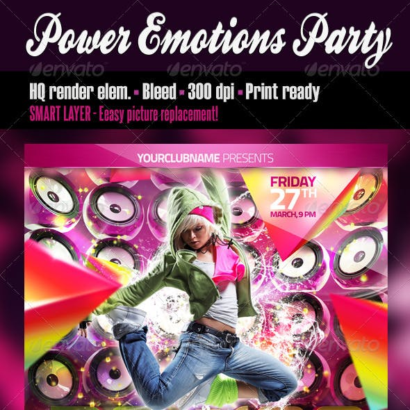 Power Emotions Party Flyer